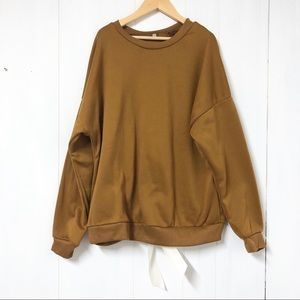 Sweaters - Camel/ Mustard Pullover Sweater w Faux Tie Up Back